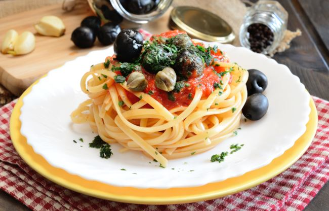 linguine capperi e olive
